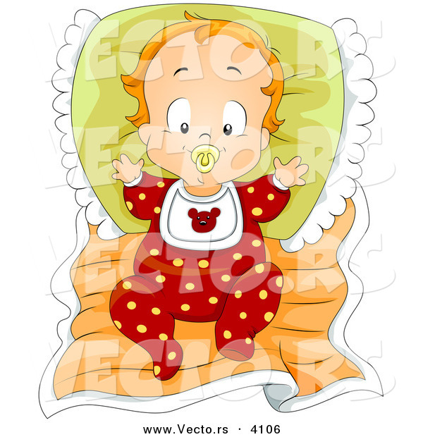 Vector of a Cartoon Baby Boy Sucking on Pacifier While Laying in Bed