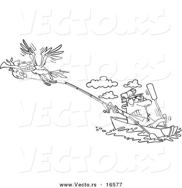 : Vector of a Cartoon Bad Gull Stealing a Fish from a Fisherman - Outlined Coloring Page Drawing