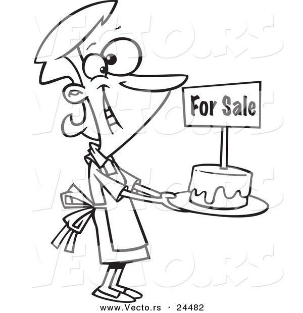 Vector of a Cartoon Bake Sale Woman Holding out a Cake - Outlined Coloring Page