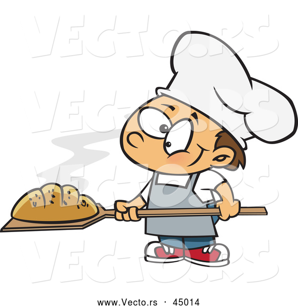 Vector of a Cartoon Baker Boy Posing with Hot, Fresh Bread Loaf