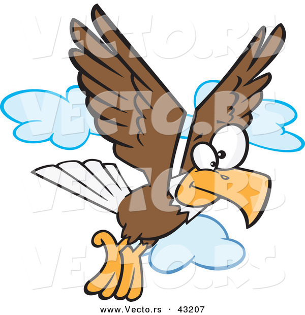 Vector of a Cartoon Bald Eagle Flying with Clouds