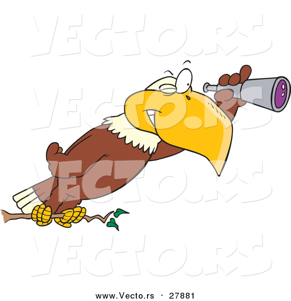 Vector of a Cartoon Bald Eagle Using a Telescope
