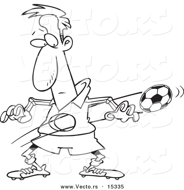 Vector of a Cartoon Ball Flying Through a Soccer Player's Body - Coloring Page Outline