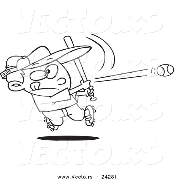 Vector of a Cartoon Baseball Boy Hitting a Home Run - Outlined Coloring Page