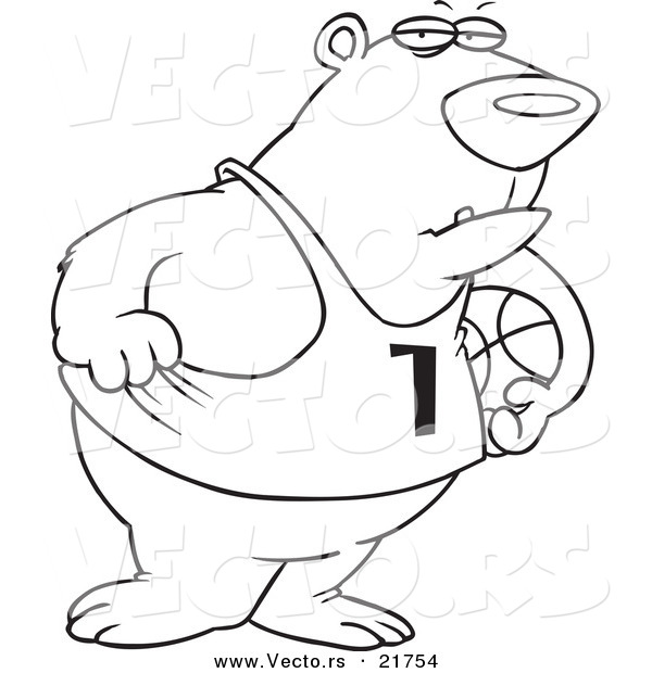 Vector of a Cartoon Basketball Bear - Outlined Coloring Page