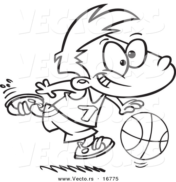 : Vector of a Cartoon Basketball Boy Dribbling - Coloring Page Outline