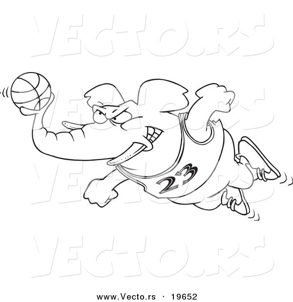 Vector of a Cartoon Basketball Elephant - Outlined Coloring Page