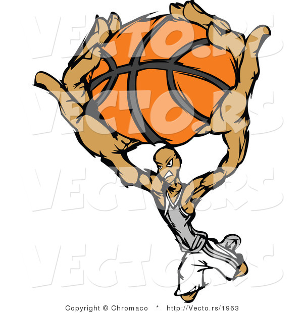 Vector of a Cartoon Basketball Player Slam Dunk