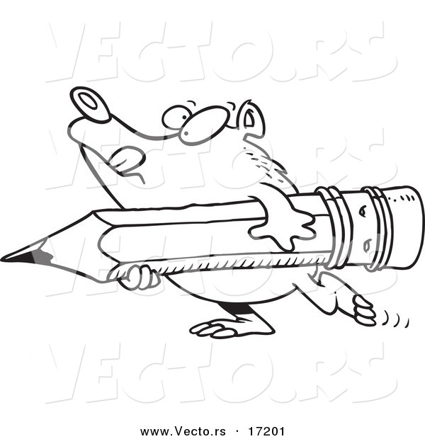 Vector of a Cartoon Bear Carrying a Pencil - Coloring Page Outline
