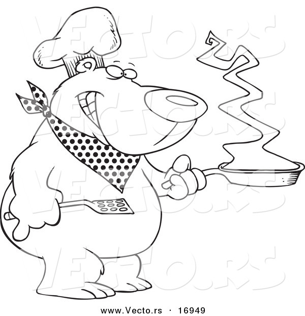 Vector of a Cartoon Bear Chef Holding a Frying Pan - Coloring Page Outline