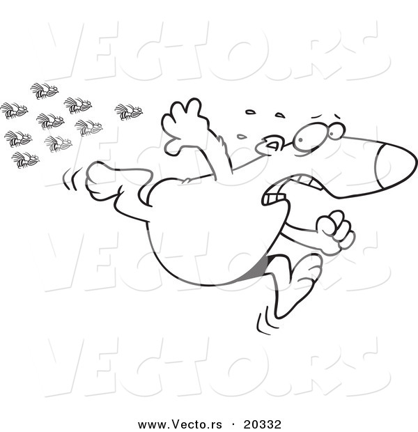 Vector of a Cartoon Bear Fleeing from Bees - Coloring Page Outline