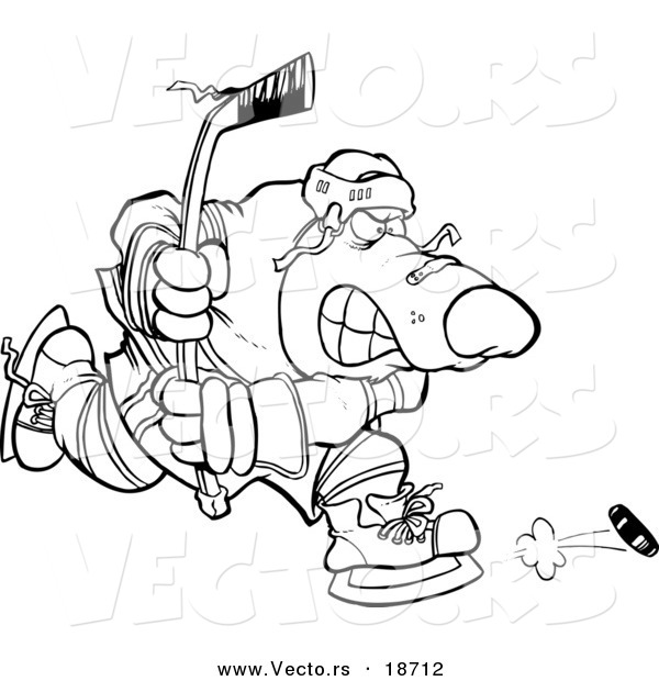 Vector of a Cartoon Bear Hockey Player - Outlined Coloring Page