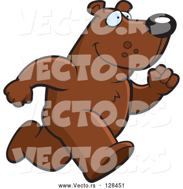 Vector of a Cartoon Bear Mascot on the Run