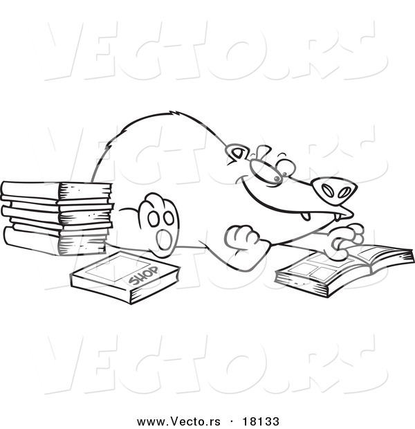 Vector of a Cartoon Bear Reading Books - Outlined Coloring Page
