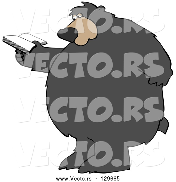 Vector of a Cartoon Bear Standing and Rubbing His Back While Reading a Book