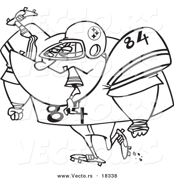 Cartoon Of A Black And White Huge American Football