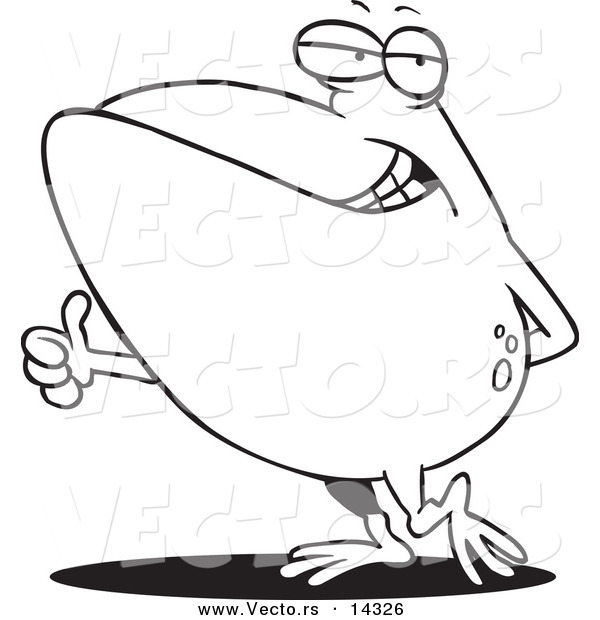 Vector of a Cartoon Big Frog Holding a Thumb up - Coloring Page Outline