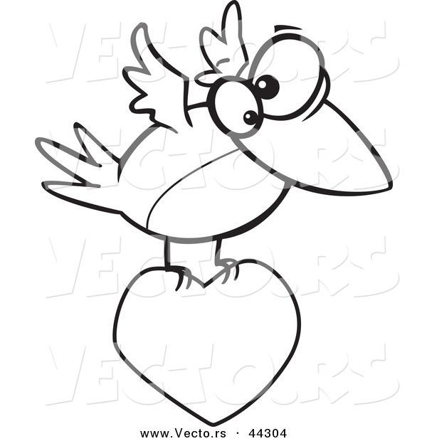 Vector Of A Cartoon Bird Flying With Love Heart
