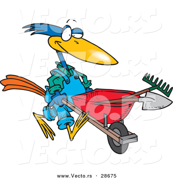 Vector of a Cartoon Bird Pushing a Wheel Barrow with Landscaping Gardener Tools