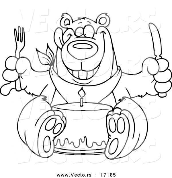 Vector of a Cartoon Birthday Bear Eating Cake - Coloring Page Outline