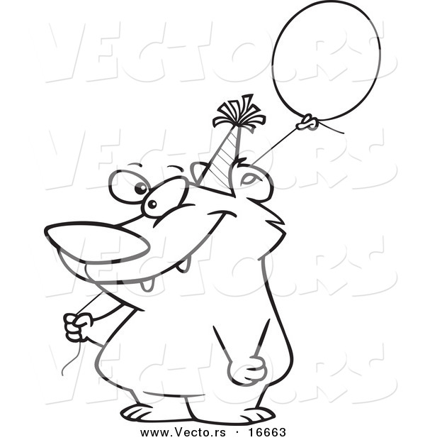 Vector of a Cartoon Birthday Bear Holding a Balloon - Outlined Coloring Page Drawing