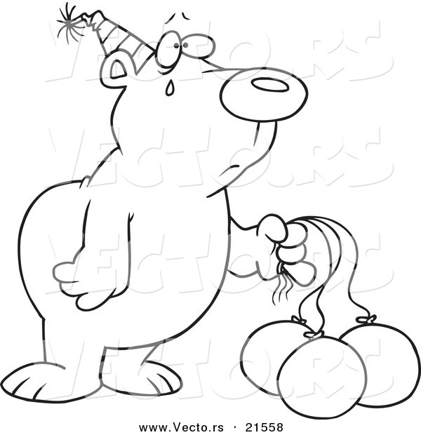 Vector of a Cartoon Birthday Bear with Deflating Balloons - Outlined Coloring Page