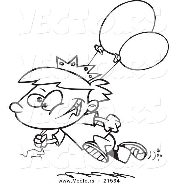 Vector of a Cartoon Birthday Boy Running with Balloons - Outlined Coloring Page