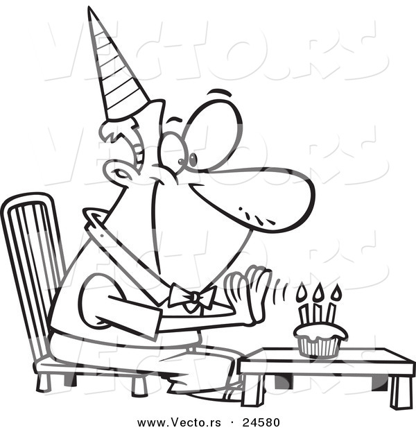 Vector of a Cartoon Birthday Man Seated Before His Cupcake - Outlined Coloring Page