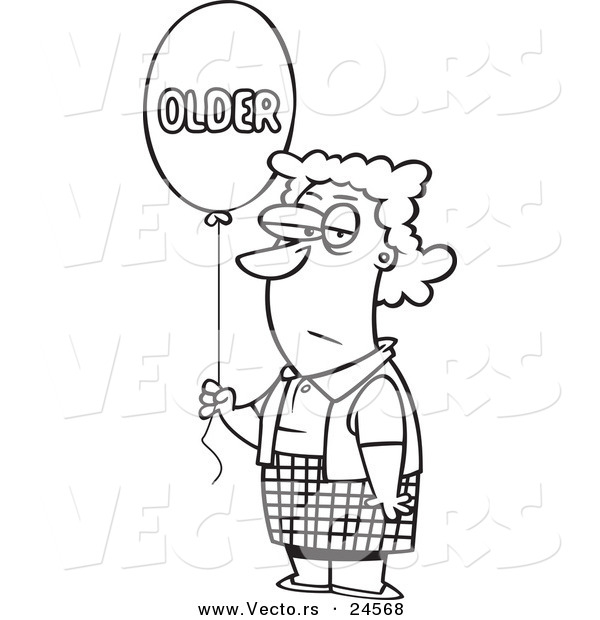 Vector of a Cartoon Birthday Woman with an Older Balloon - Outlined Coloring Page