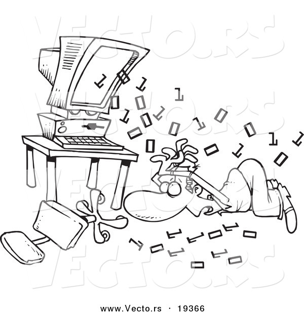 Vector of a Cartoon Black and White Outline Design of Binary Code Shooting out at a Businessman - Outlined Coloring Page