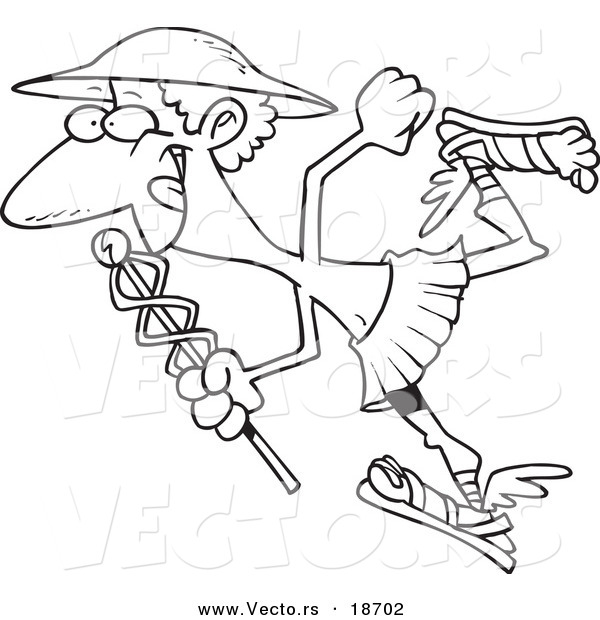 filename vector of a cartoon black and white outline design of hermes with a staff outlined coloring page by ron leishman 18702jpg
