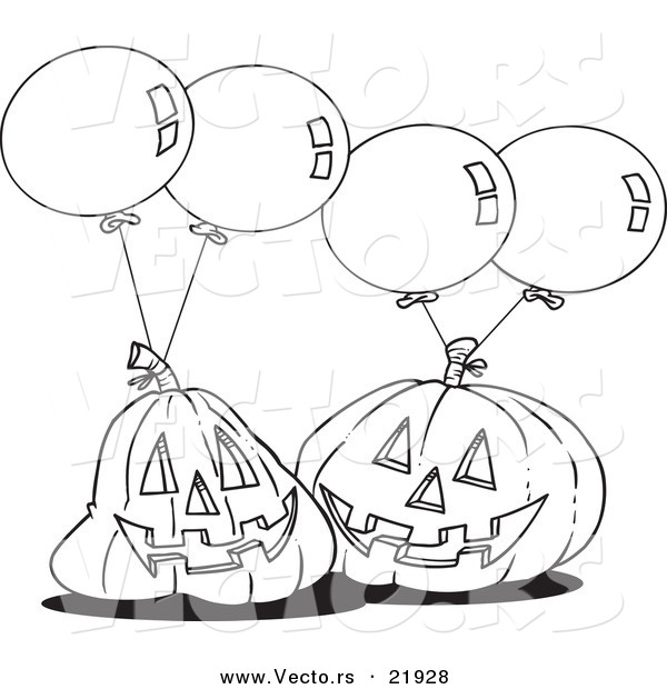 Vector of a Cartoon Black and White Outline Design of Jackolanterns and Party Balloons - Outlined Coloring Page