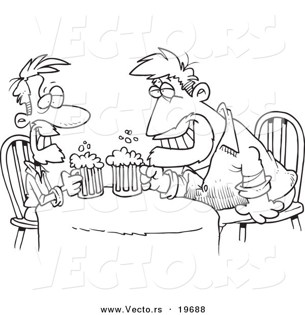 Vector of a Cartoon Black and White Outline Design of Men Having a Drink - Outlined Coloring Page
