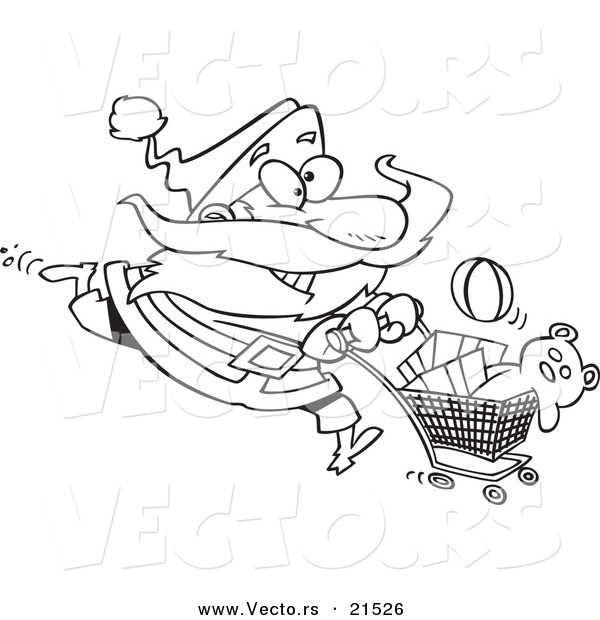 Vector of a Cartoon Black and White Outline Design of Santa Shopping - Outlined Coloring Page