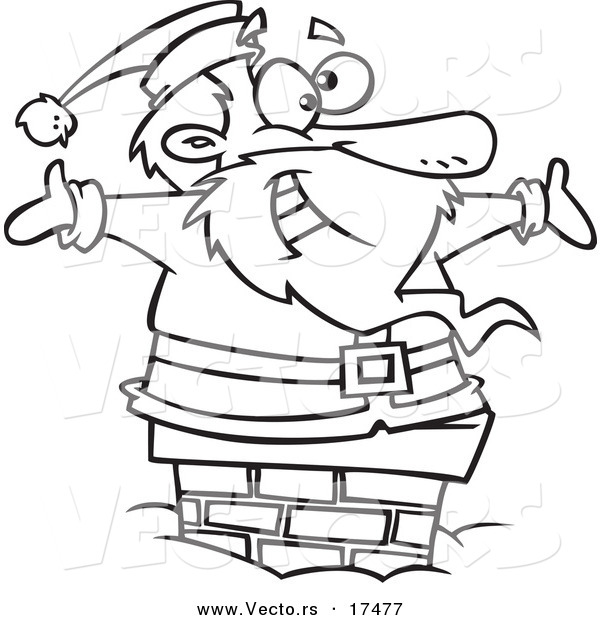 vector of a cartoon black and black santa cartoon