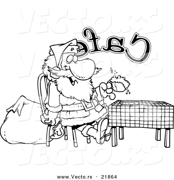 Vector of a Cartoon Black and White Outline Design of Santa Taking a Break in a Cafe - Outlined Coloring Page
