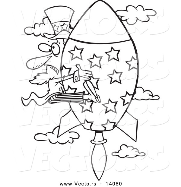 Vector of a Cartoon Black and White Outline Design of Uncle Sam Shooting Upwards on a Rocket - Coloring Page Outline