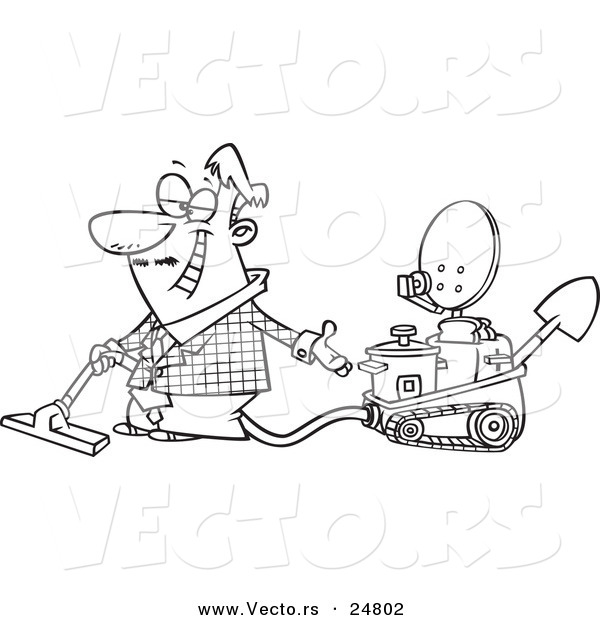Vector of a Cartoon Black and White Outline Male Inventor Introducing His Five in One Machine - Outlined Coloring Page