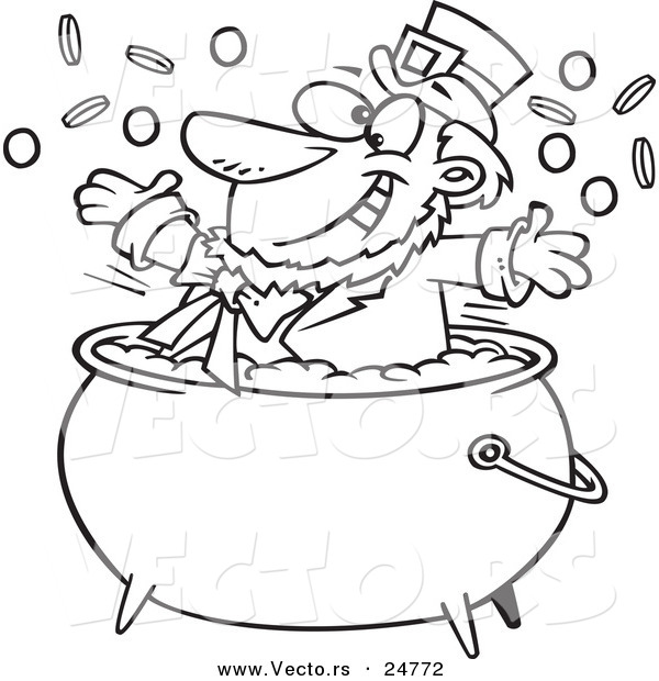 Vector of a Cartoon Black and White Outline St Patricks Leprechaun Playing in a Pot of Gold - Outlined Coloring Page