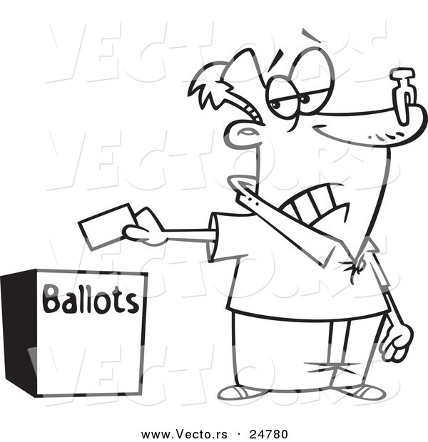Vector of a Cartoon Black and White Outline Voter with a Nose Plug Putting His Ballot in a Box - Outlined Coloring Page