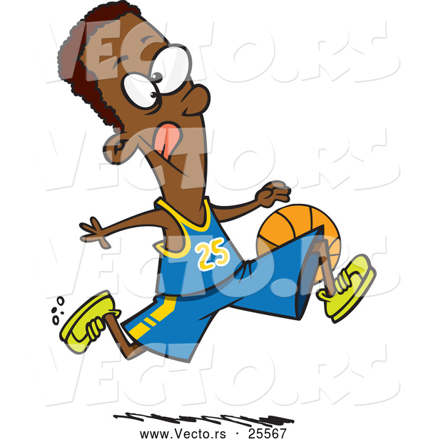 Vector of a Cartoon Black Athletic Basketball Player Running While Dribbling the Ball