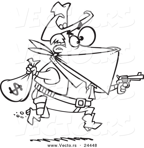 Vector of a Cartoon Black Bart Outlaw Stealing Money - Outlined Coloring Page