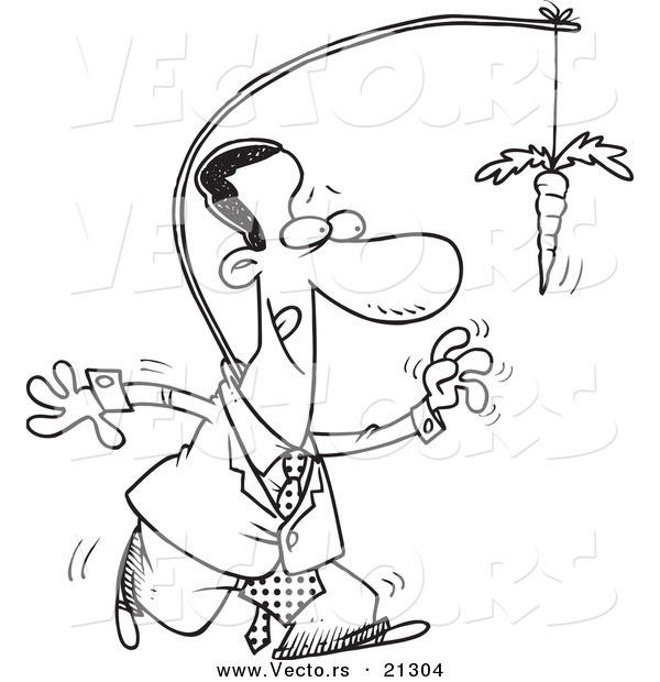 Vector of a Cartoon Black Businessman Chasing After a Carrot on a Stick - Outlined Coloring Page