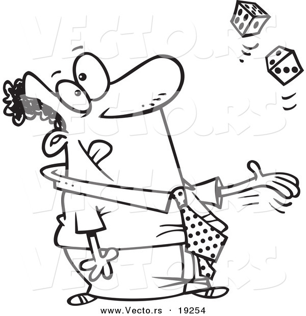Vector of a Cartoon Black Businessman Tossing Dice - Outlined Coloring Page