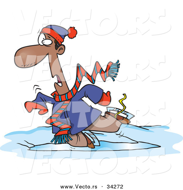 Vector of a Cartoon Black Man Falling While Ice Skating