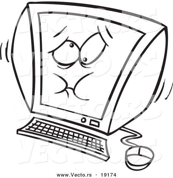 : Vector of a Cartoon Bloating Computer - Outlined Coloring Page