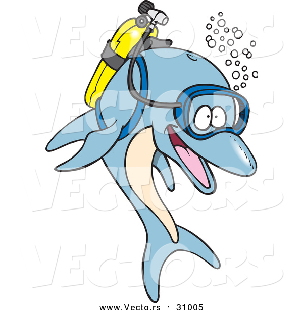 Vector of a Cartoon Blue Scuba Dolphin
