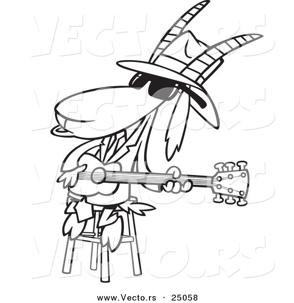 Vector of a Cartoon Blues Goat Musician Playing a Guitar - Outlined Coloring Page