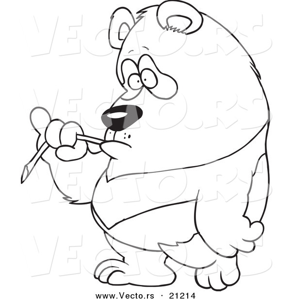 Vector of a Cartoon Bored Panda Eating Bamboo - Coloring Page Outline