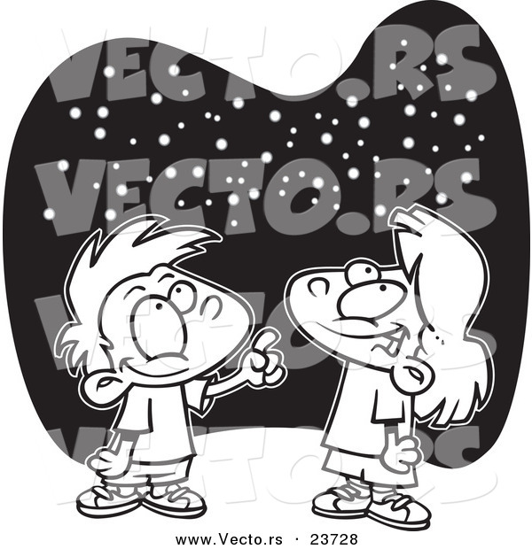 Vector of a Cartoon Boy and Girl Gazing at the Stars - Coloring Page Outline